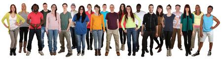 Gelukkig multi-etnische groep van lachende jonge mensen geïsoleerd op een witte achtergrond Stockfoto - 42709106