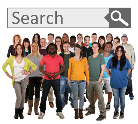 Large group of young smiling people searching with search engine on internet isolated on a white background