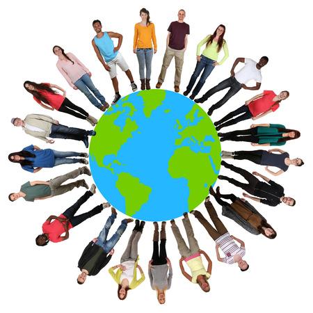 Lachend gelukkig multicultureel multi-etnische groep van jonge mensen op de wereld aarde