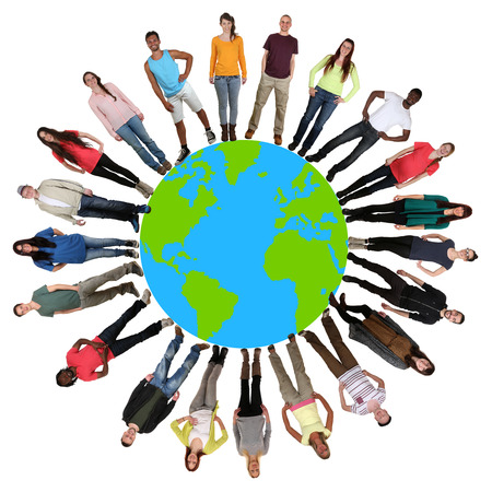 Smiling happy multicultural multi ethnic group of young people on world earth Stock Photo