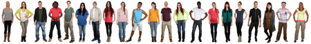 standing in line: Smiling happy multicultural multi ethnic group of young people standing in a row isolated on a white background