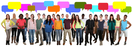 multi media: Happy multi ethnic group of smiling young people talking with speech bubble isolated on a white background
