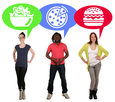 eating fast food: Group of young people choosing food pizza, salad or hamburger fast food healthy eating Stock Photo