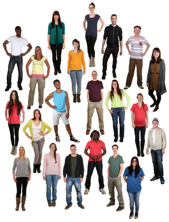 Large multi ethnic group of smiling happy young people background isolated