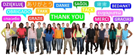 multi ethnic: Multi ethnic group of smiling young people saying thank you in different languages Stock Photo