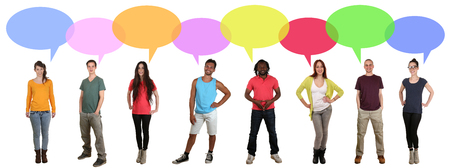 multi ethnic: Smiling multicultural multi ethnic group of many young people talking with speech bubble and copyspace
