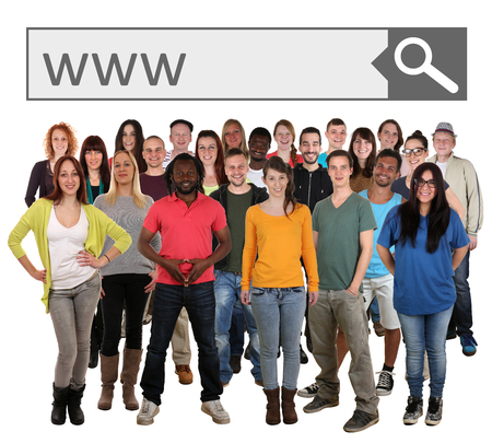 multi racial groups: Large group of young smiling people searching website online on internet isolated on a white background
