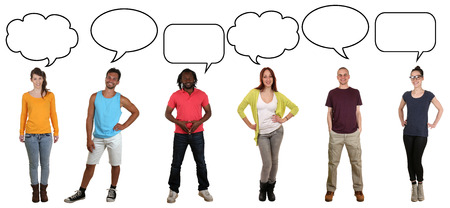 multi ethnic group: Smiling multicultural multi ethnic group of young people saying opinion with speech bubble and copyspace Stock Photo