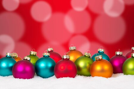 copyspace: Many colorful Christmas balls background decoration with snow and copyspace Stock Photo