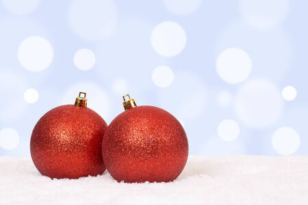 copyspace: Red Christmas balls background decoration card with snow and copyspace Stock Photo