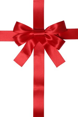 white bow: Red ribbon gift with bow for gifts on Christmas or Valentines day isolated on a white background