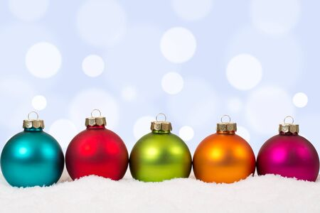 christmas balls: Colorful Christmas balls background decoration with snow and copyspace