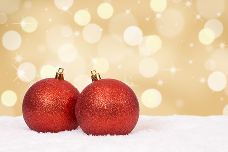 Christmas balls background golden decoration card with copyspace