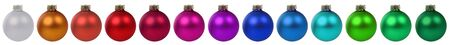 christmas decorations: Colorful Christmas balls baubles decoration border in a row isolated on a white background