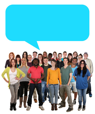 cultural diversity: Multi ethnic group of smiling young people talking with speech bubble and copyspace Stock Photo