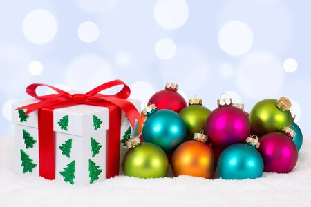 christmas gift: Christmas gift decoration with colorful balls and copyspace