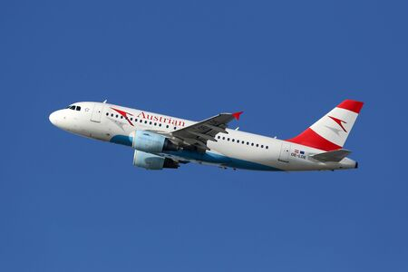 Barcelona, Spain - December 12, 2014: An Austrian Airlines Airbus A319 with the registration OE-LDE taking off from Barcelona Airport (BCN). Austrian Airlines is the flag carrier airline of Austria with its headquarters in Vienna.