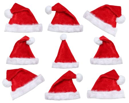 santa clause hat: Set of Santa Claus hats on Christmas in winter isolated on a white background Stock Photo