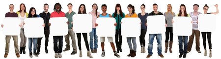 multi cultural: Smiling group of young multi ethnic people holding copyspace for nine letter or text isolated on white