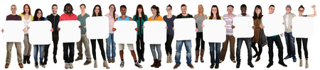 eleven: Smiling group of young multi ethnic people holding copyspace for eleven letter or text isolated on white Stock Photo