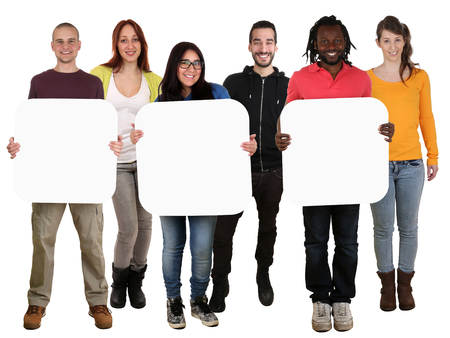Smiling group of young multi ethnic people holding copyspace for three letter or text isolated on white