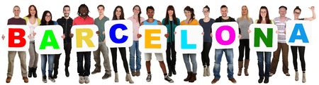 multi racial: Smiling group of young multi ethnic people holding word Barcelona isolated on white