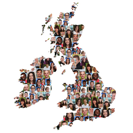 smiling faces: Great Britain and Ireland map multicultural group of young people integration diversity isolated
