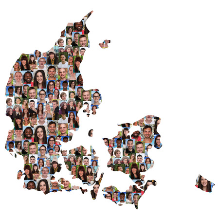 diversity: Denmark map multicultural group of young people integration diversity isolated