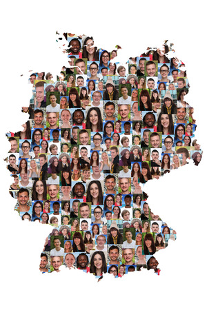 multi racial groups: Germany map multicultural group of young people integration diversity isolated