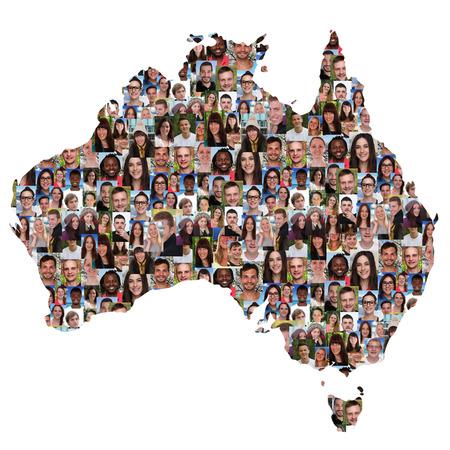 Australië kaart multiculturele groep jongeren geïsoleerde diversiteit integratie Stockfoto - 44403467