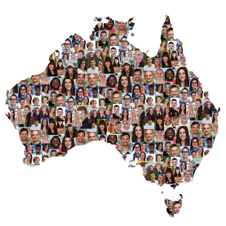 australia: Australia map multicultural group of young people integration diversity isolated