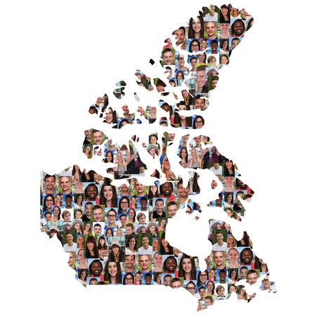 multi racial group: Canada map multicultural group of young people integration diversity isolated
