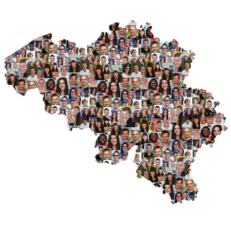 refugees: Belgium map multicultural group of young people integration diversity isolated Stock Photo