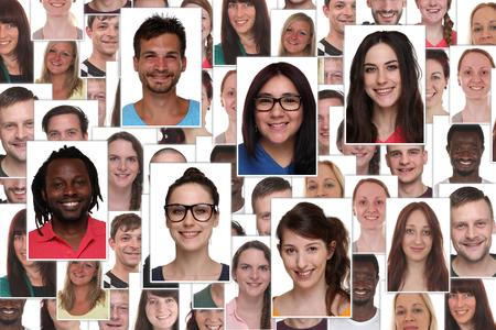 Achtergrond collage groepsportret van multiraciale jonge smiling mensen Stockfoto