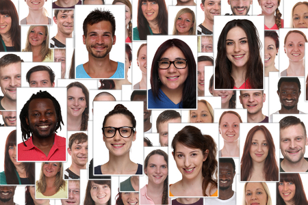 multi racial groups: Background collage group portrait of multiracial young smile smiling people