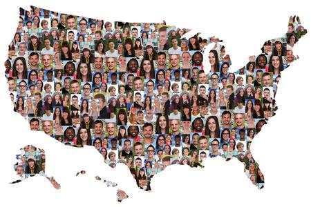 collage caras: EE.UU. mapa grupo multicultural de jóvenes diversidad integración aislado