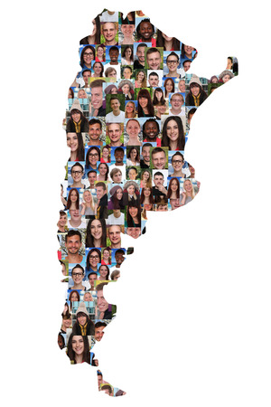 multi racial groups: Argentina map multicultural group of young people integration diversity isolated Stock Photo