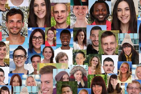 多民族の若者の背景のコラージュ グループ肖像画笑顔笑顔の人々 のソーシャル メディア