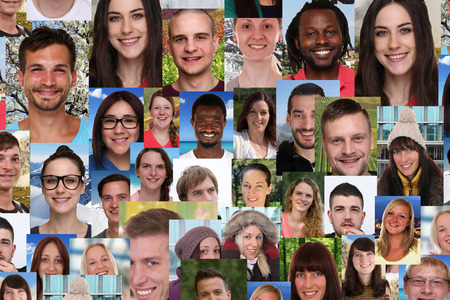 Background collage group portrait of multiracial young smile smiling people social media