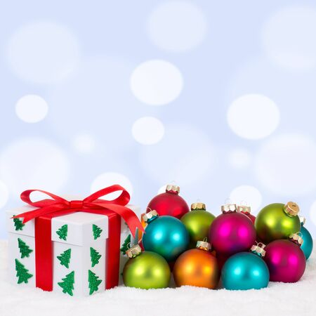 christmas gifts: Christmas gifts decoration with colorful balls and copyspace
