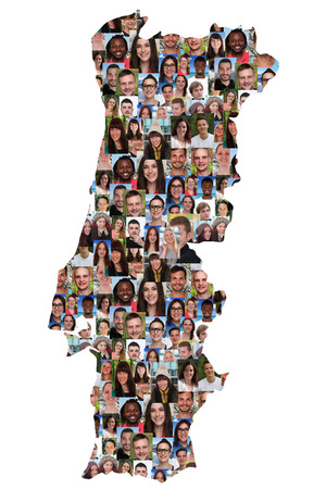 collage caras: Portugal mapa grupo multicultural de jóvenes aislados diversidad integración