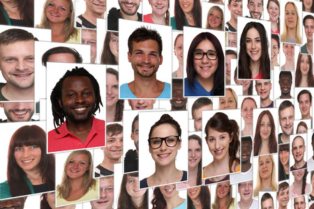 Background collage group portrait of young smile smiling people Stockfoto
