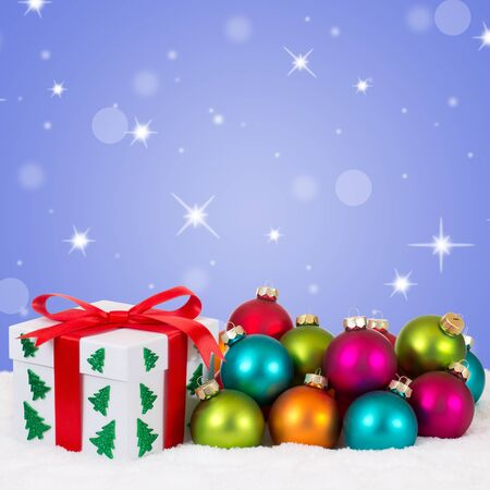 copyspace: Christmas gifts decoration with colorful balls, stars and copyspace Stock Photo