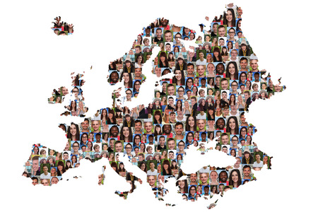 integrated: Europe map multicultural group of young people integration diversity isolated Stock Photo
