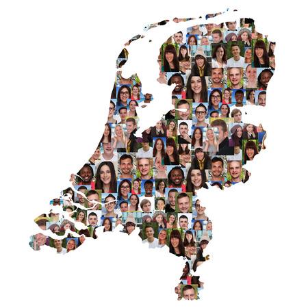Nederland kaart multiculturele groep jongeren diversiteit integratie geïsoleerd Stockfoto - 44403881