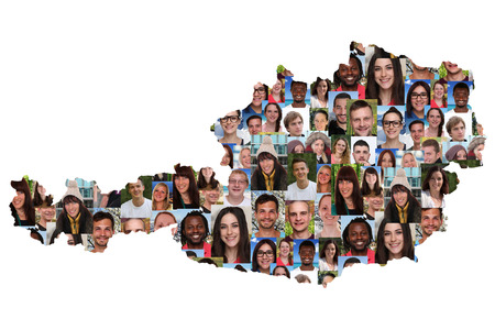 austria map: Austria map multicultural group of young people integration diversity isolated