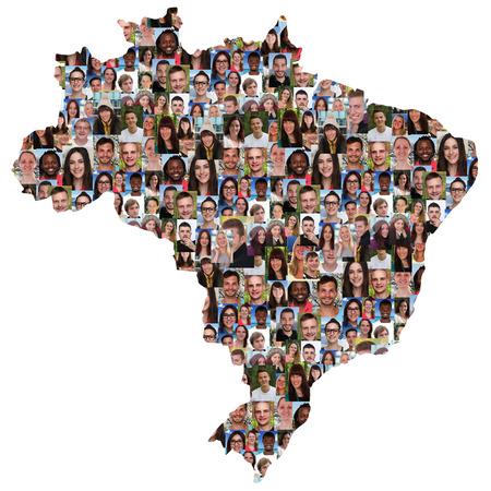 Brazilië kaart multiculturele groep jongeren geïsoleerde integratie diversiteit Stockfoto