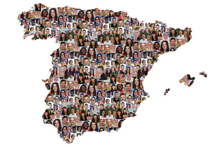 Spain map multicultural group of young people integration diversity isolated