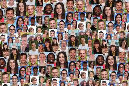 pessoas: colagem do fundo retrato grande grupo de jovens multirraciais sorrir sorriso pessoas de mídia social