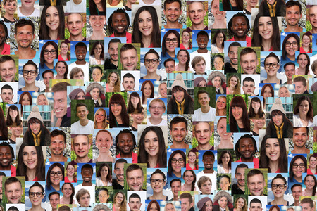 Background collage large group portrait of multiracial young smile smiling people social media